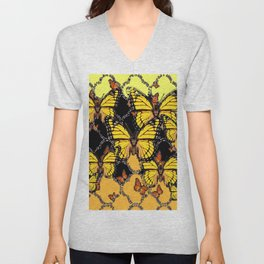 BLACK-GOLDEN YELLOW BUTTERFLIES ART Unisex V-Neck