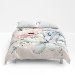 Elegant Blush Pink Succulent Garden by Nature Magick Comforters