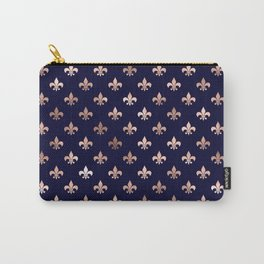 Royal Blue Rose Gold Pattern Carry-All Pouch