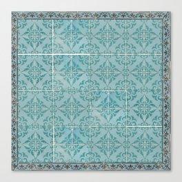 Victorian Turquoise Ceramic Tiles Canvas Print