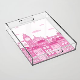 London Skyline Pink Acrylic Tray
