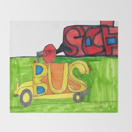 Bus at School Throw Blanket