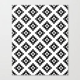 Southwest in black and white modern traditional geometric aztec native print design desert kilim  Canvas Print