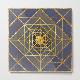 Gold Plated Preppy Blue Mandala Metal Print