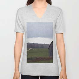 Barn and the Cattle on the hill Unisex V-Neck