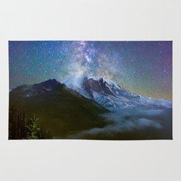 Milky Way Over Mount Rainier Rug