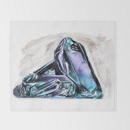 Rainbow Fluorite Crystals Watercolor Throw Blanket