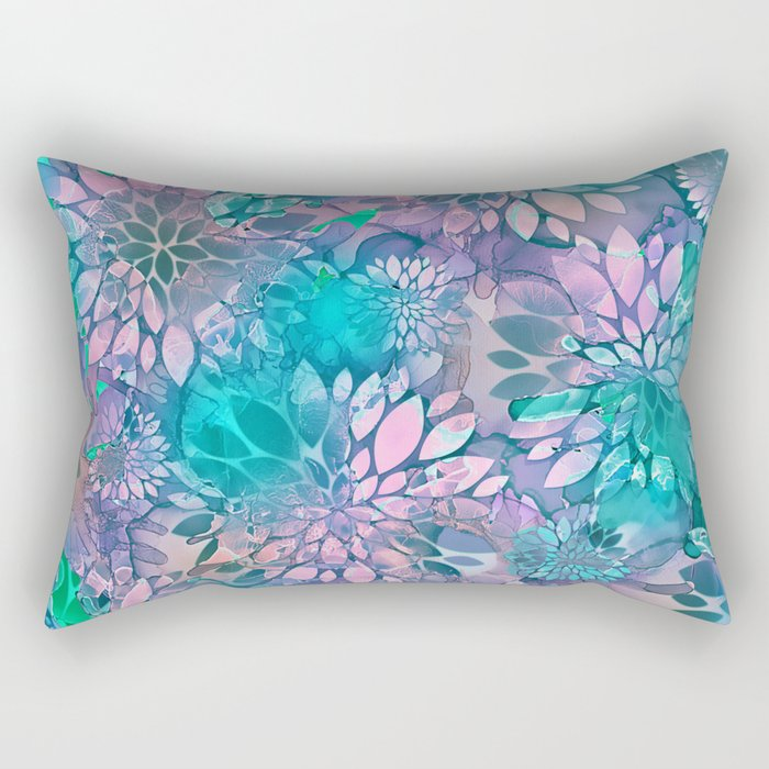 Painted Background Floral Pattern Rectangular Pillow