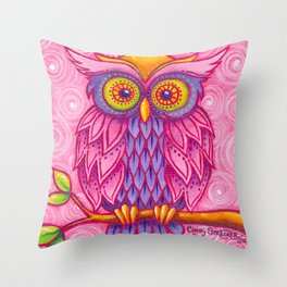 Owl in Pink Throw Pillow