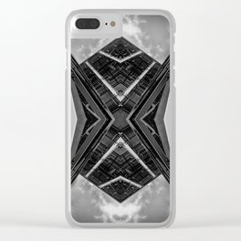 Alien Mothership and Cloudscape in Black and White Clear iPhone Case