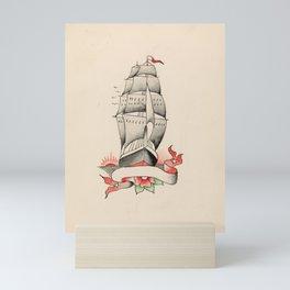 Vintage Tattoo Design with a Ship Mini Art Print