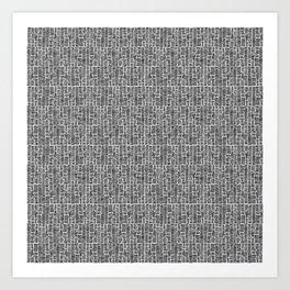 Line Texture, White Art Print