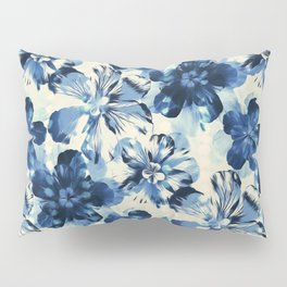 Shibori Inspired Oversized Indigo Floral Pillow Sham