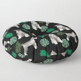 Schnauzer summer monstera tropical pure breed dog gifts Floor Pillow
