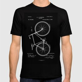 Vintage Bicycle Patent Black T-shirt