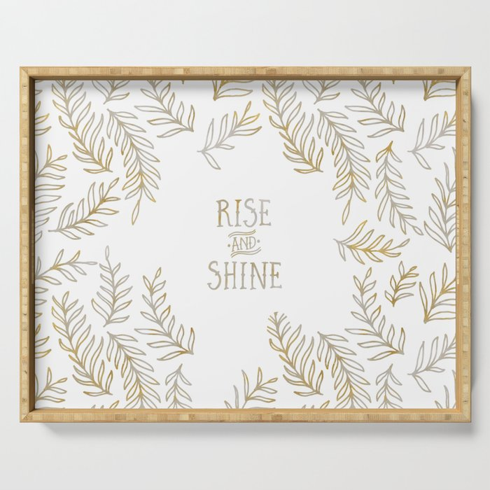 Graphic Art RISE & SHINE | gold Serving Tray
