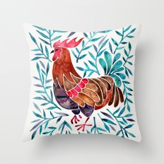 Le Coq – Watercolor Rooster with Turquoise Leaves Throw Pillow