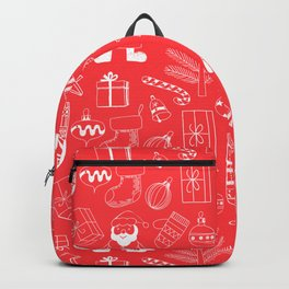 Doodle Christmas pattern red Backpack