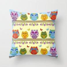 Chilling Summer owls Throw Pillow