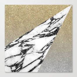 Silver Gold Glitter and Marble Geometric Pattern Canvas Print