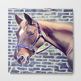Brown Horse with Harness Metal Print
