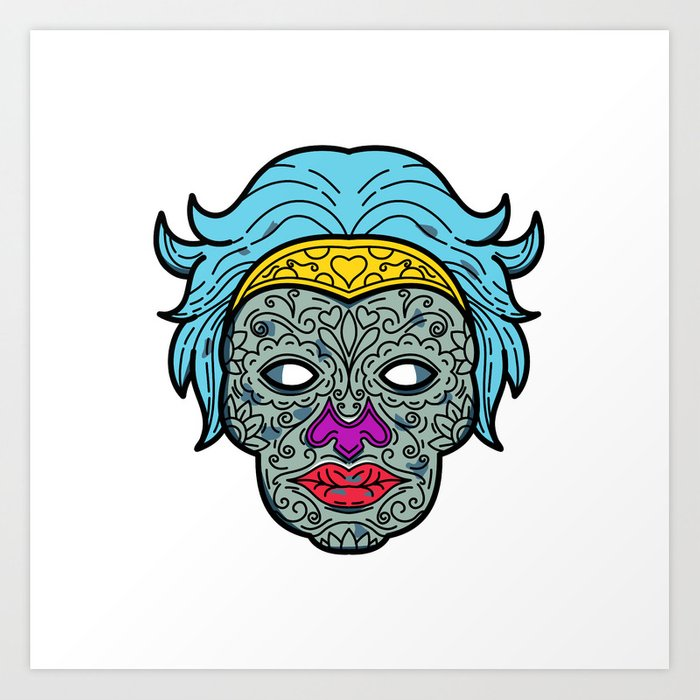 d6c6f015b701d Female Calavera Sugar Skull Mono Line Art Print by patrimonio | Society6