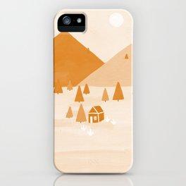 orange scenery landscape artwork illustration iPhone Case