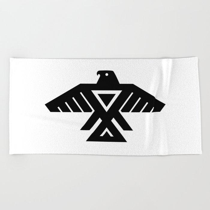 Native American Thunderbird Symbol Flag Beach Towel By