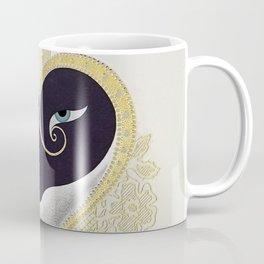 """Black & Gold Filigree Heart"" Design Coffee Mug"
