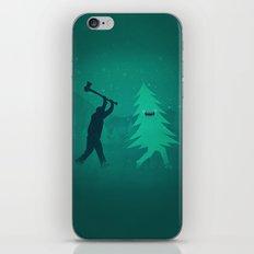 Funny Christmas Tree Hunted by lumberjack (Funny Humor) iPhone Skin