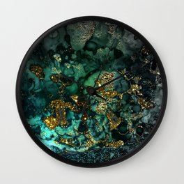 Gold Indigo Malachite Marble Wall Clock
