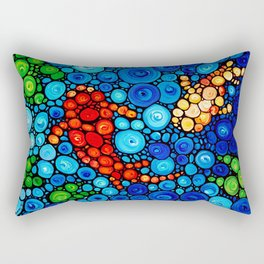 Pure Koi Joi - Mosaic Fish Art Painting by Sharon Cummings Rectangular Pillow