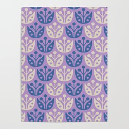 Mid Century Modern Flower Pattern Lavender and Blue 112 Poster
