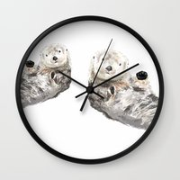 otters Wall Clocks featuring Sea Otters Watercolor Painting by Triple Studio