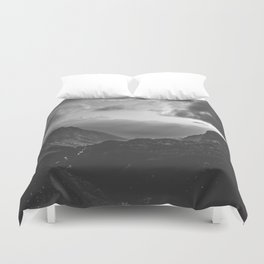 Valley - black and white landscape photography Duvet Cover