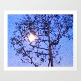 Early Morning Moon and Blue Sky Art Print