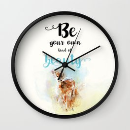 "Beautiful Watercolor "" Be Your Own Kind of Beauty "" Motivational Quote Print Wall Clock"