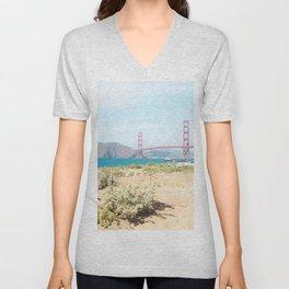Golden Gate Bridge Beach Unisex V-Neck