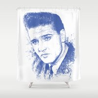 elvis presley Shower Curtains featuring Elvis Presley by Chadlonius