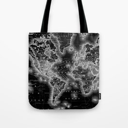 Black and White World Map (1864) Inverse Tote Bag