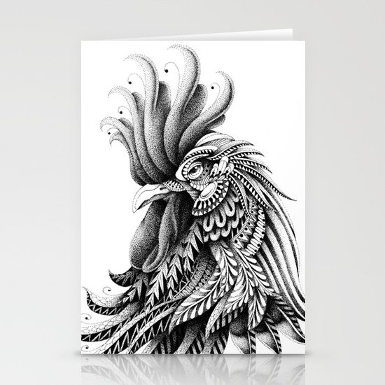 Ornately Decorated Rooster Stationery Cards
