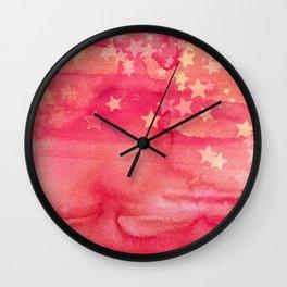 Ink & Stars in Melon & Peach Wall Clock