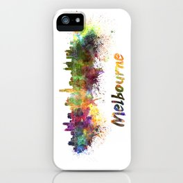 Melbourne skyline in watercolor iPhone Case