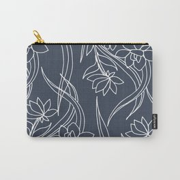 Floral Drawing in Blue Carry-All Pouch