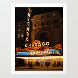 Chicago theatre by night Art Print