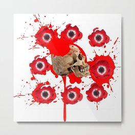 BLACK BLOODY RED EXPLODING BLOOD POPPIES SKULL ART Metal Print
