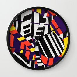 Black & White Stripes with Purple & Yellow Wall Clock