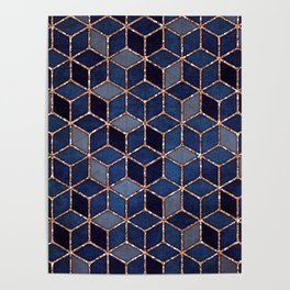 Shades Of Purple & Blue Cubes Pattern Poster