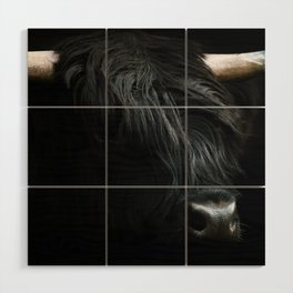 Minimalist Black Scottish Highland Cattle Portrait - Animal Photography Wood Wall Art