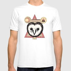 Follow the Owl White Mens Fitted Tee SMALL